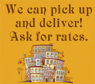 We can pick up and delivery! Ask for rates.